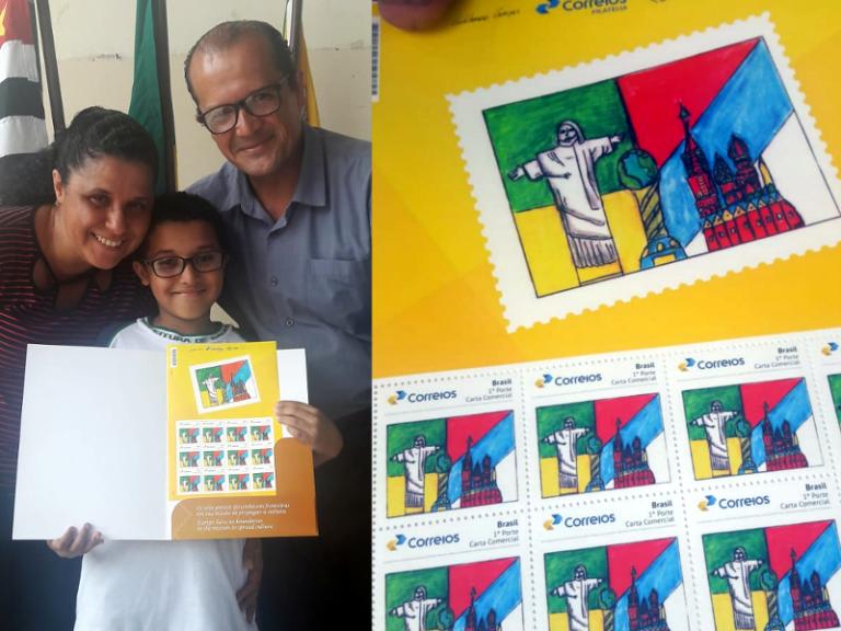 Aluno de Bauru ganha selo personalizado em concurso dos Correios